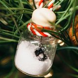 Half-filled Clear Glass Ornament With Miniature Camera Stock Photography