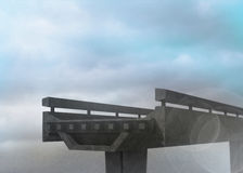 Half finished bridge in sky Royalty Free Stock Image