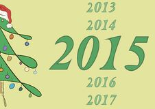 2015 and half of a fir-tree Stock Image