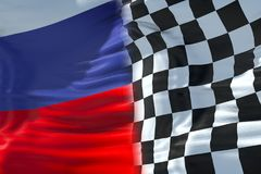 Half flags of checkered flag, end race and half russia federatio Royalty Free Stock Photos