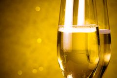 Half flutes of champagne abstract background Royalty Free Stock Photography