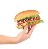 Half of french baguette sandwich in hand. Stock Photography