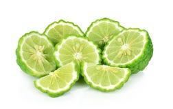 Half of fresh bergamot isolated on white background. A half of fresh bergamot isolated on white background royalty free stock images