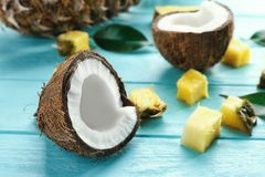 Half of fresh coconut and pineapple pieces Royalty Free Stock Images