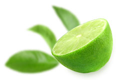 Half of fresh lime. And of-focus green leaf on backdrop . Placed on white background. Close-up. Studio photography royalty free stock photos