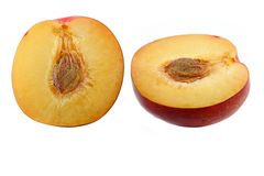 Half of fresh Nectarine with seed Royalty Free Stock Photo