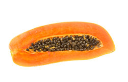 Half of fresh papaya fruit with seed isolated on white Stock Photography