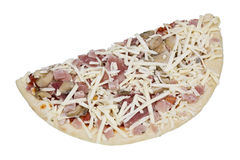 Half of the frozen  pizza with mushrooms Stock Photo