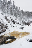 Half-frozen river in canyon Royalty Free Stock Photo