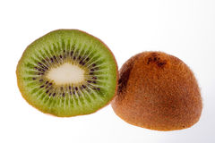 Half  fruit of green kiwi isolated on white background Stock Images