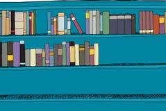 Half Full Blue Shelf. Blue book shelf half full of books Stock Photography