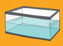 Half Full Fish Tank. Half full rectangular pet fish tank on orange background Royalty Free Stock Image