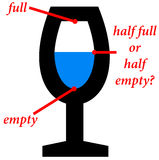 Half full, half empty. Eternal discussion about the glass being half full or half empty Stock Photos