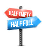 Half full, half empty road sign illustration Royalty Free Stock Photo