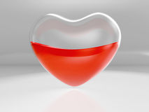 Half-full heart. Glass transparent heart half full with blood on gray background Royalty Free Stock Photos