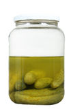 Half full pickle jar Royalty Free Stock Images