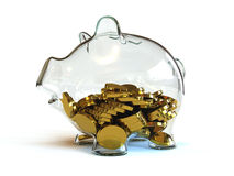 Half Full Piggy Bank. Half full glass piggy bank Stock Photo