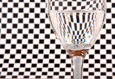 Half full wine glass. With black and white background Stock Images