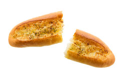 Half of garlic bread isolated on white background Royalty Free Stock Image