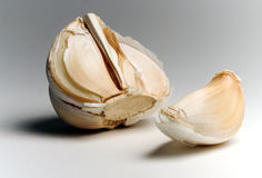 Half Garlic and Clove. Garlic Cloves Royalty Free Stock Images