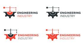 Half gear with crane logo design for engineering. royalty free illustration