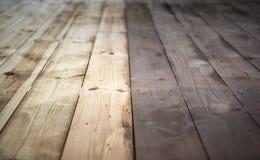 Half geschilderde houten achtergrond met grijze kleur, houten vloer Royalty-vrije Stock Fotografie