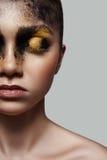 Half Gezicht van het Model van de manierschoonheid met Make-up stock foto's