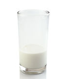 Half a glass of fresh milk on a white background Royalty Free Stock Photo