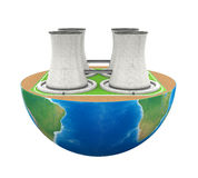 Half Globe with Nuclear Power Plant Royalty Free Stock Image