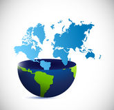 Half globe and world map illustration design Royalty Free Stock Photo