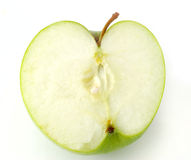Half green apple. Isolated on white Stock Photos