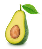 Half of green avocado with leaf isolated on a white Royalty Free Stock Photography
