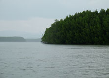 Half circle green forest island of Phang Nga Bay in Thailand. Island full of green forests. surround by vast and pure water Royalty Free Stock Photo
