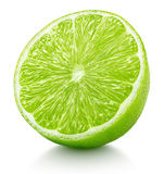 Half of green lime citrus fruit isolated on white Stock Photo
