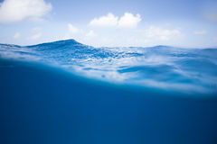 Half and Half of Ocean Surface Royalty Free Stock Photos