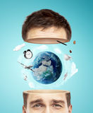 Half head with earth Stock Photography