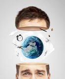 Half head with earth Stock Images