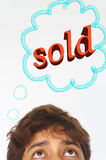 Half head of man daydream for something sold Stock Image