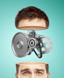 Half head and metal gears Stock Image