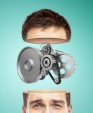 Half head and metal gears Stock Image