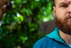 Free Half Head Of A Bald Bearded Man Visible, Green Serious Sad Eye Shining In Focus Stock Photos - 183275293