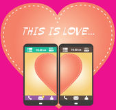 Half of the heart on the screen of your smartphone,flat vector Royalty Free Stock Photography