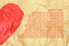 Half heart shape on crumpled paper Royalty Free Stock Photography