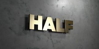 Half - het Gouden teken zette op glanzende marmeren muur op - 3D teruggegeven royalty vrije voorraadillustratie Stock Foto