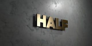 Half - het Gouden teken zette op glanzende marmeren muur op - 3D teruggegeven royalty vrije voorraadillustratie Stock Afbeelding