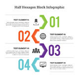 Half Hex Block Infographic Stock Images
