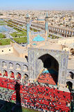 Half an hour before a Muslim Friday mass prayer. In Imam Mosque in Isfahan, Iran. Aerial view on Isfahan. The image was taken from the top of minaret Stock Images