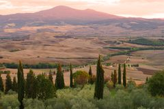 Half an hour before sunset. Surroundings Pienza, Italy Stock Photo