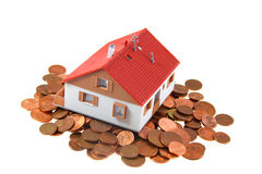 Half of house with cents. House structure with cents as isolated object stock image