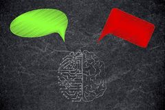 Free Half Human Half Circuit Brain With Green And Red Thoughts Repres Royalty Free Stock Image - 126790106